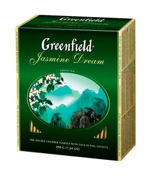 Чай зеленый пакетированный Greenfield Жасмин Дрим 100 х 2 г