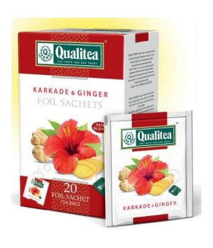 Чай травяной пакетированный Qualitea Каркаде с Имберем 20 х 2 г