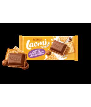 Шоколад Roshen Lacmi молочный с крекером и шоколадно-ореховой начинкой 110 г