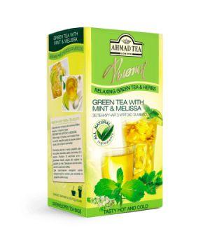 Чай зеленый пакетированный Ахмад с Мятой и Мелиссой 20 х 2 г