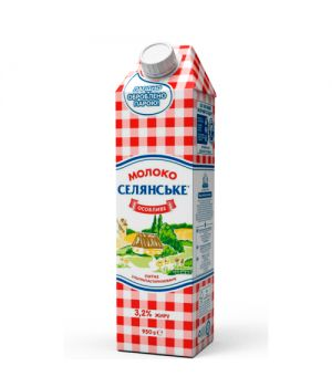 """Молоко Селянське 3,2% жира """"Особенное"""" 950 г"""